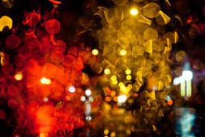 close up of red and yellow lights