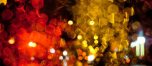 blurred red and yellow lights in a night scene